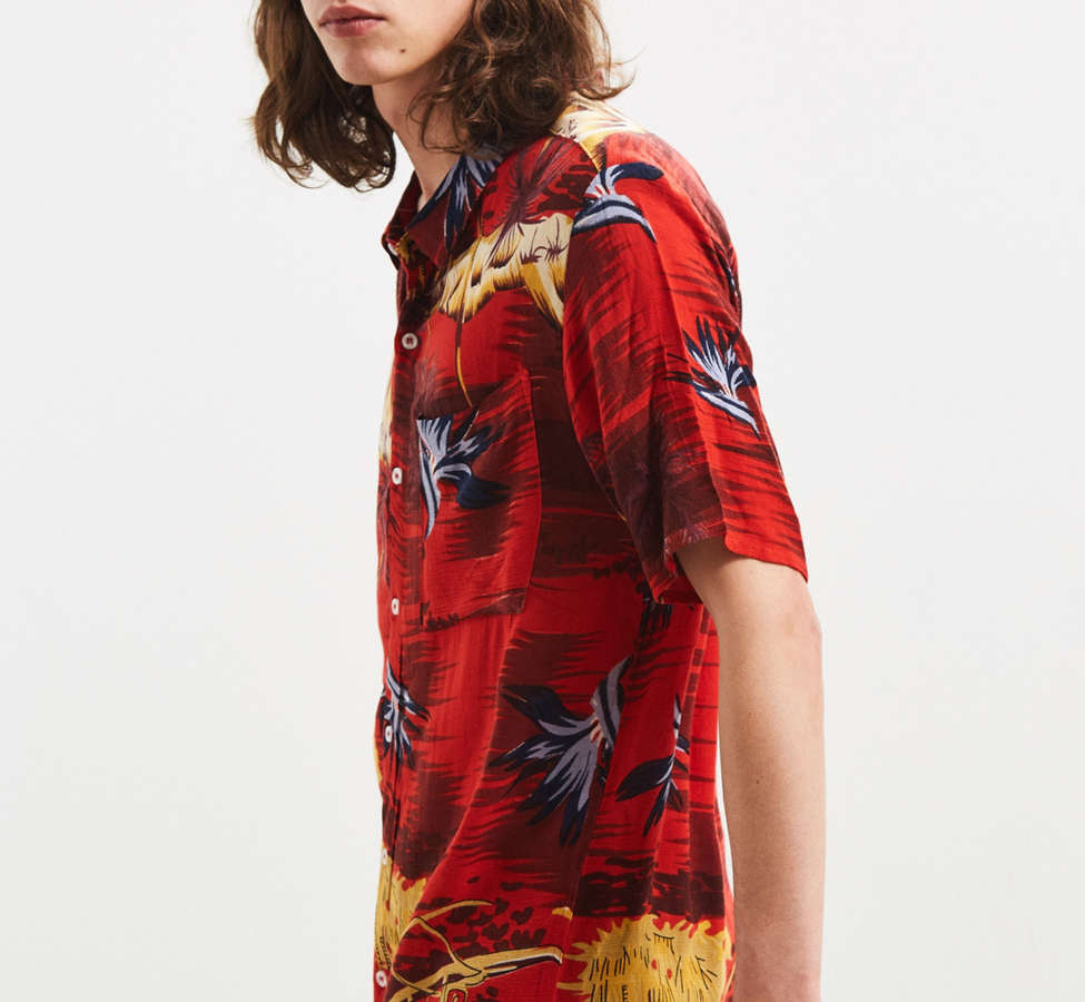 Slide View: 3: Rolla's Tropical Red Button-Down Shirt