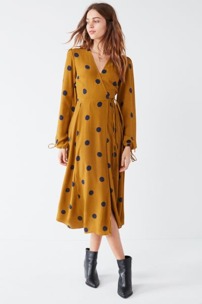 UO Audrey Long-Sleeve Wrap Midi Dress - Green Multi XS at Urban Outfitters