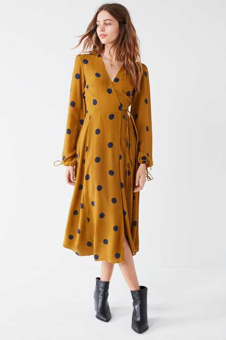 UO Audrey Long-Sleeve Wrap Midi Dress