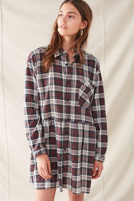 Urban Renewal Recycled Plaid Shirt Dress