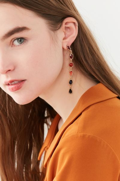 Ombre Stone Statement Drop Earring - Orange One Size at Urban Outfitters