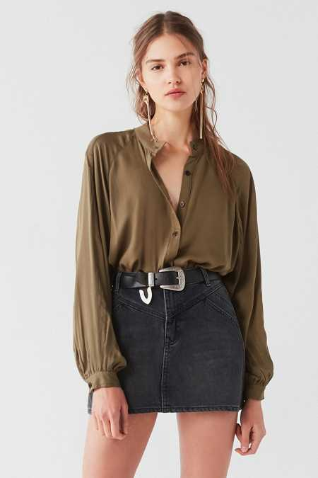 UO Nat Collarless Button-Down Top