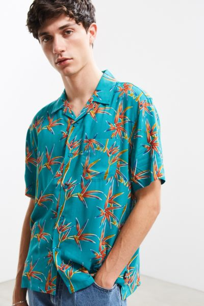 Stussy Bamboo Rayon Short Sleeve Button-Down Shirt - Turquoise S at Urban Outfitters