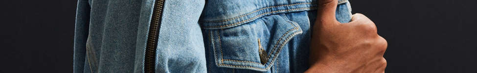Thumbnail View 1: Vintage Zipper Sleeve Denim Trucker Jacket