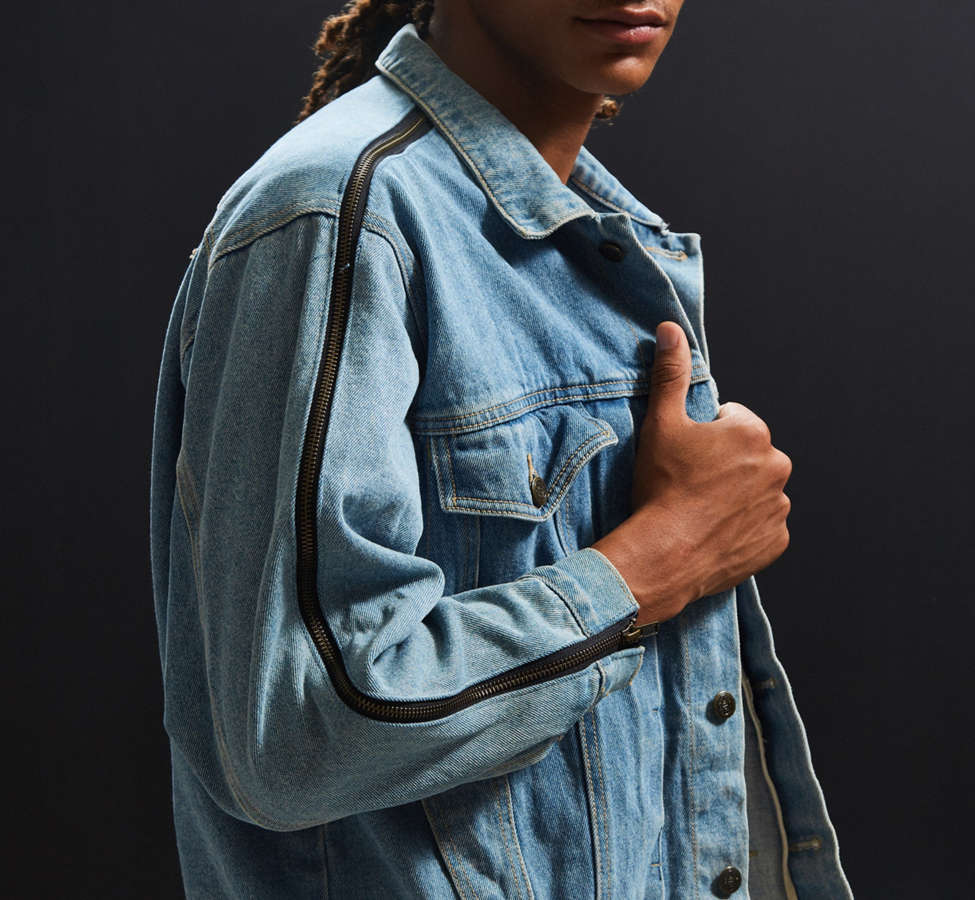 Slide View: 1: Vintage Zipper Sleeve Denim Trucker Jacket