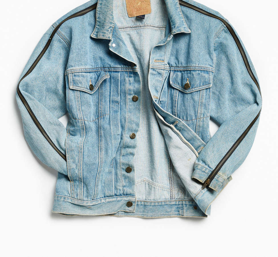 Slide View: 2: Vintage Zipper Sleeve Denim Trucker Jacket