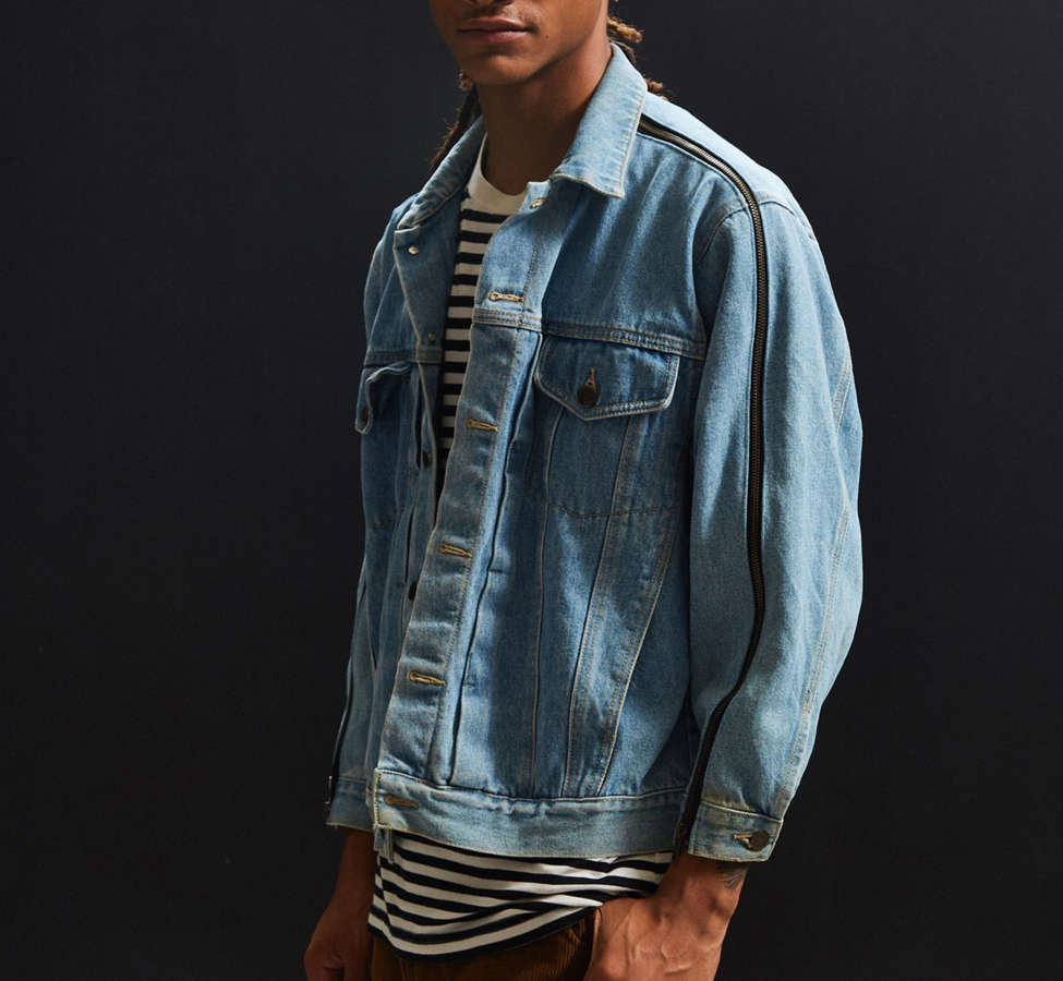 Slide View: 3: Vintage Zipper Sleeve Denim Trucker Jacket