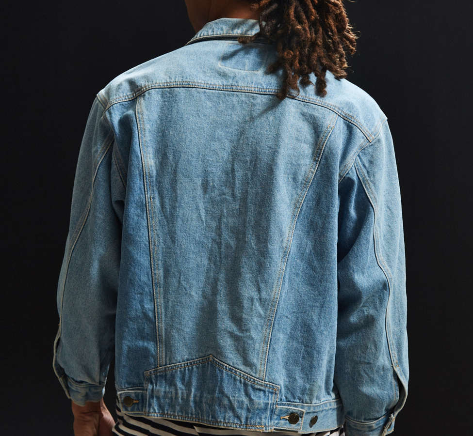 Slide View: 4: Vintage Zipper Sleeve Denim Trucker Jacket