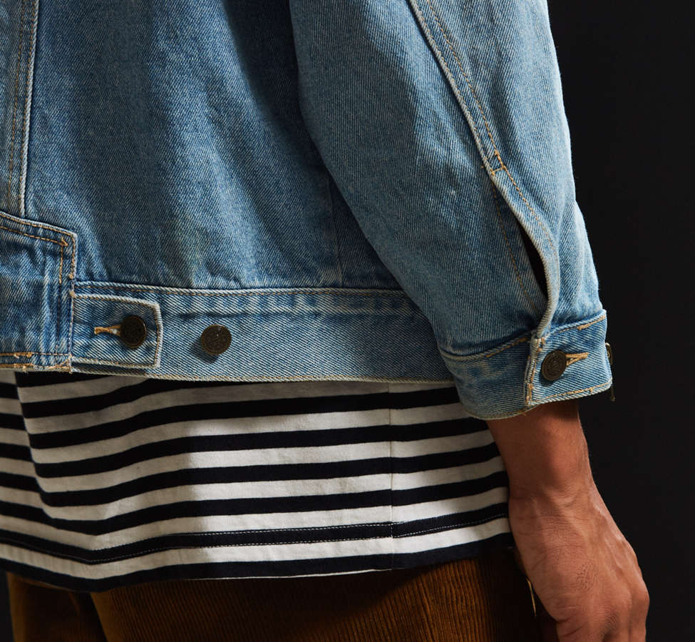 Slide View: 5: Vintage Zipper Sleeve Denim Trucker Jacket