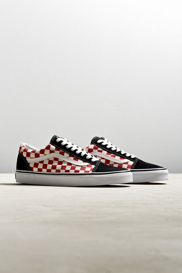 vans old skool red checkerboard