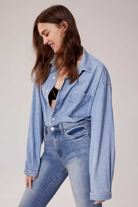 Vintage Oversized Denim Button-Down Shirt