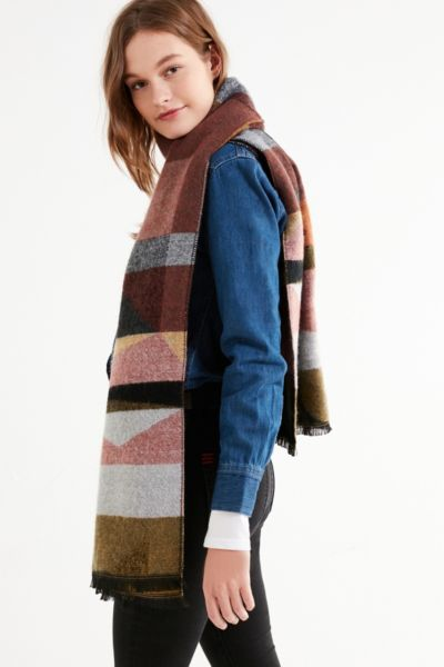 Southwestern Woven Blanket Scarf - Neutral Multi One Size at Urban Outfitters