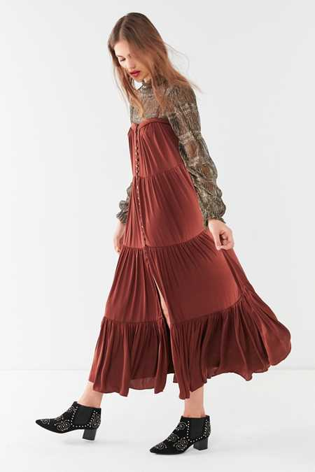 UO Forever Tiered Button-Down Maxi Dress