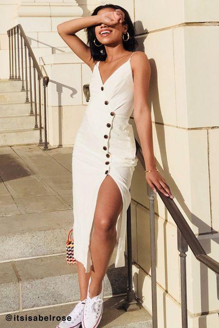 Uo Amber On Down Linen Midi Dress