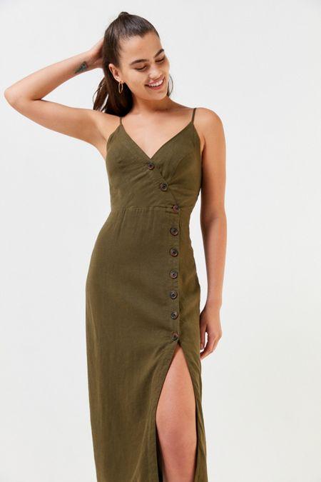 9e6eee1224e UO Amber Button-Down Linen Midi Dress