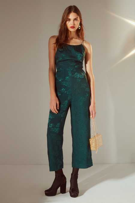 UO Lily Jacquard Lace-Up Jumpsuit