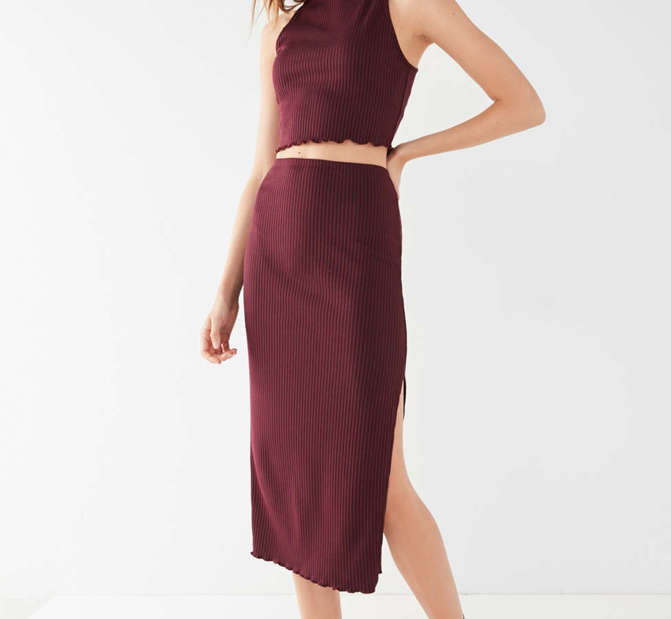 Slide View: 1: UO High-Rise Lettuce-Edge Midi Skirt