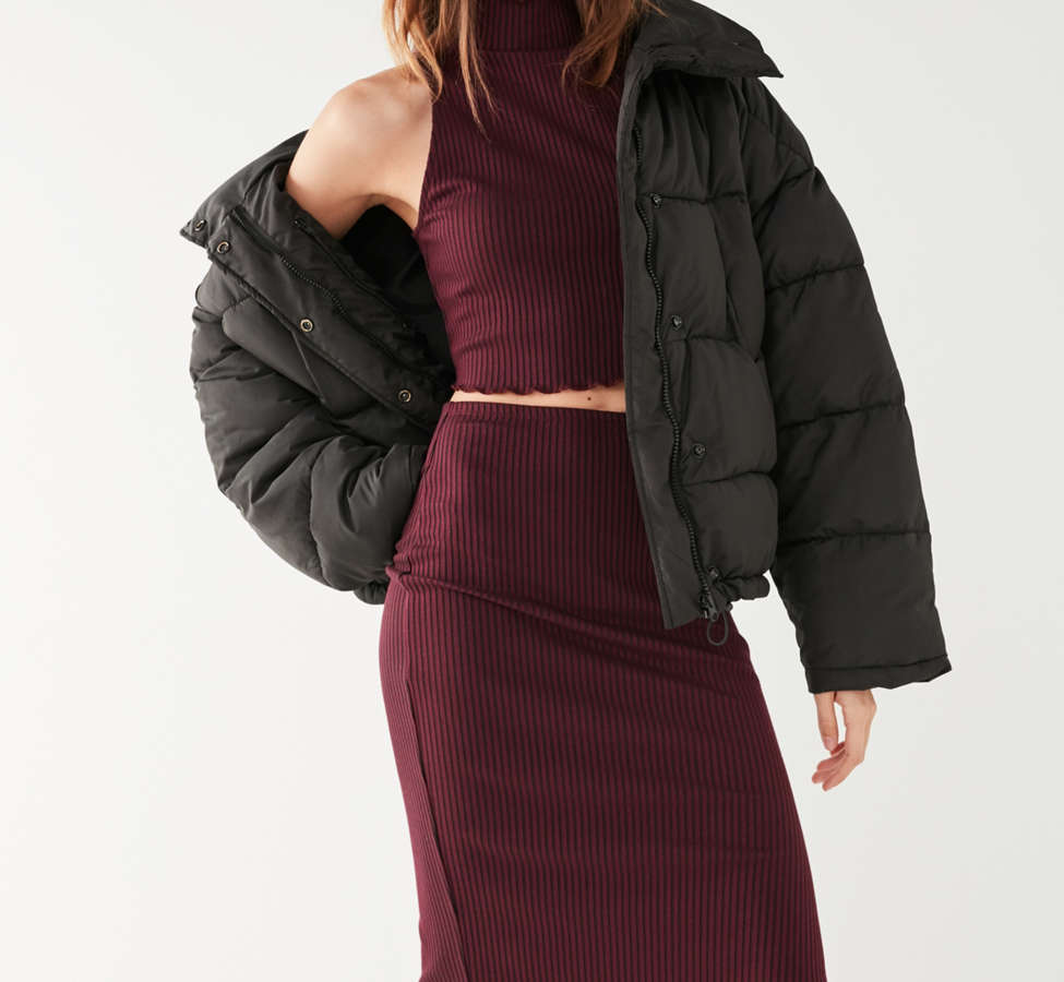 Slide View: 2: UO High-Rise Lettuce-Edge Midi Skirt
