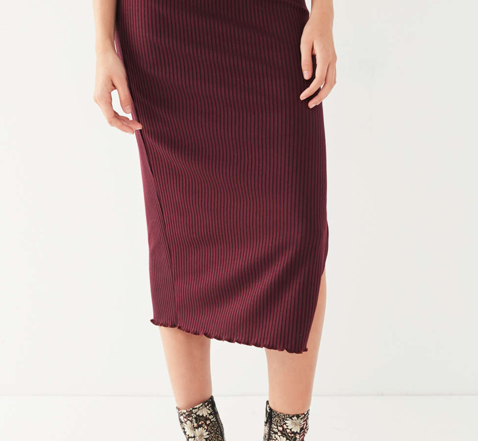 Slide View: 3: UO High-Rise Lettuce-Edge Midi Skirt