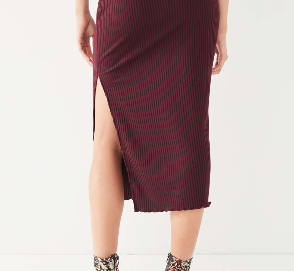 Slide View: 4: UO High-Rise Lettuce-Edge Midi Skirt
