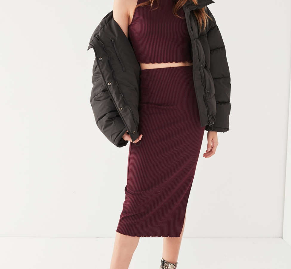 Slide View: 5: UO High-Rise Lettuce-Edge Midi Skirt