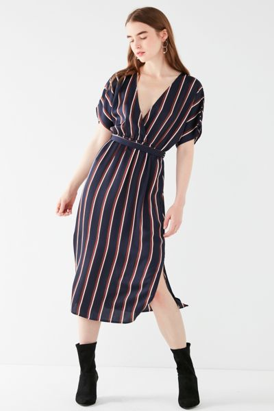 UO Striped Satin Midi Wrap Dress - Navy XS at Urban Outfitters