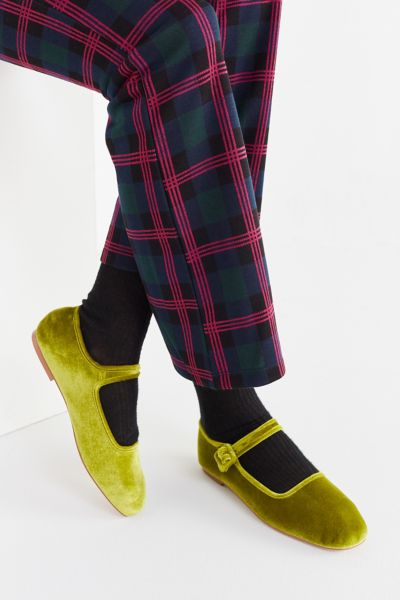 UO Velvet Mary Jane Flat - Lime 6 at Urban Outfitters