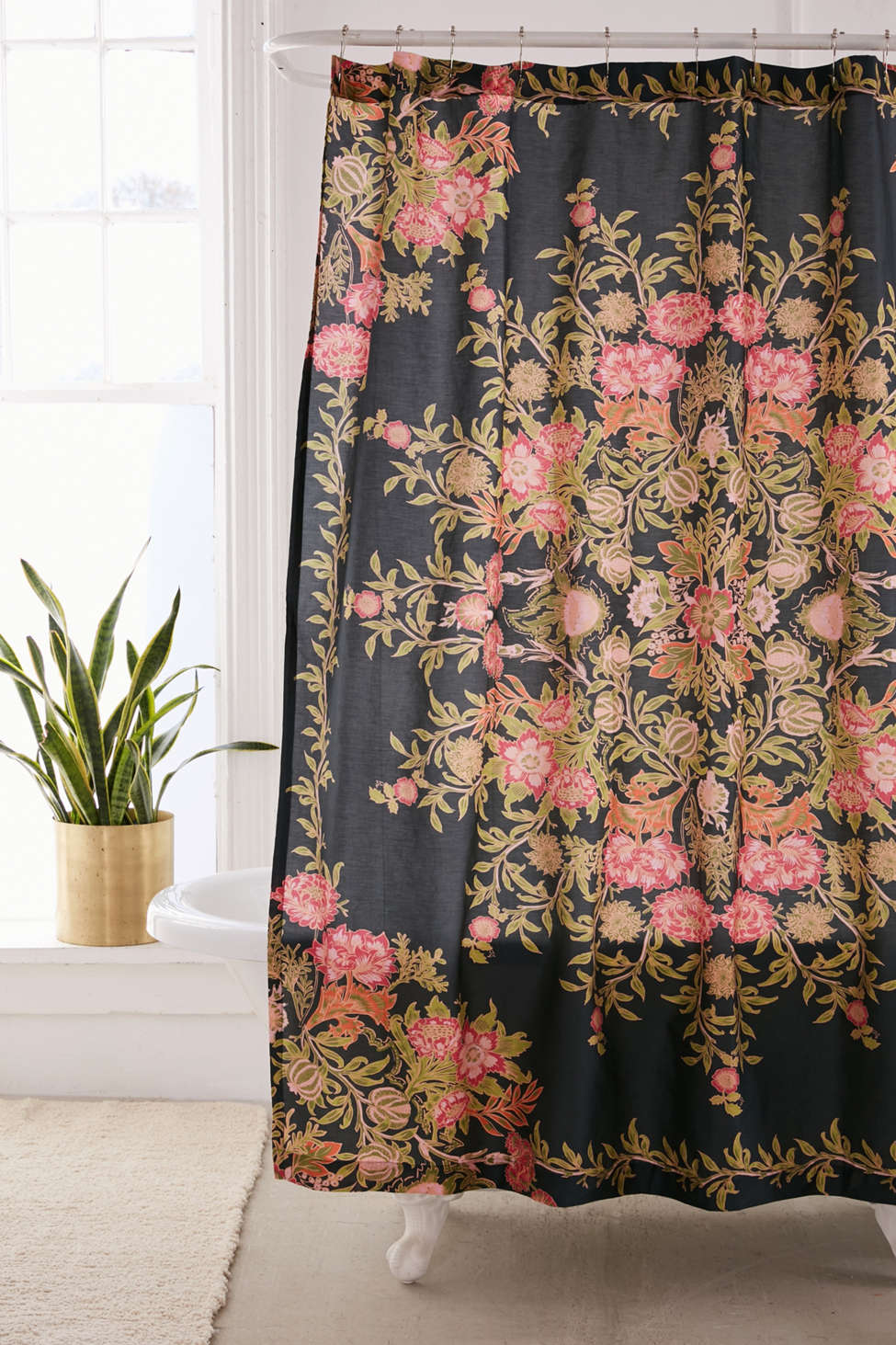 Slide View: 1: Analise Floral Medallion Shower Curtain