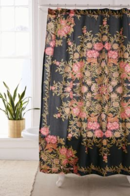 Orange Floral Shower Curtain.  Shower Curtains Bathroom Urban Outfitters