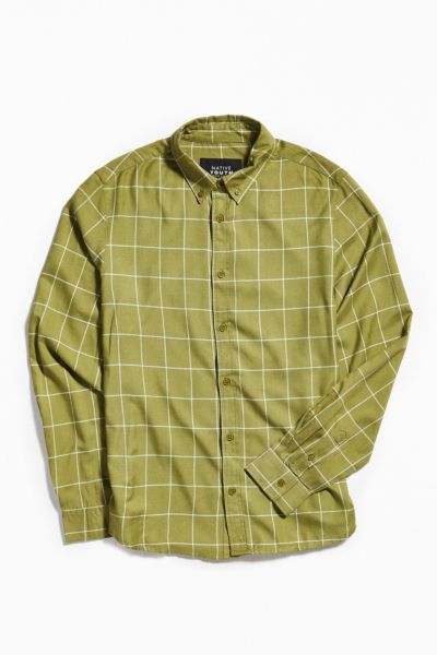 Native Youth Jubarra Flannel Button-Down Shirt - Green S at Urban Outfitters