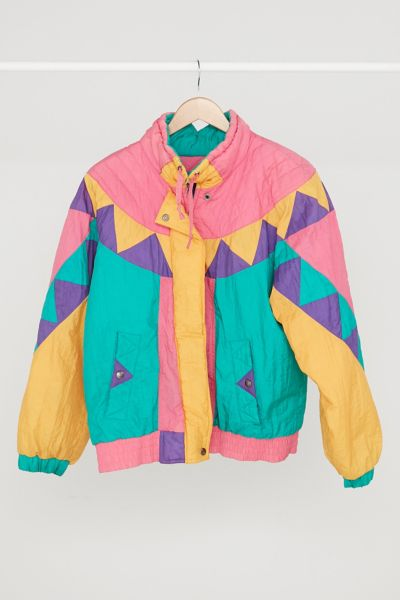 Vintage '70s Pop Color Geo Puffer Jacket - Assorted One Size at Urban Outfitters