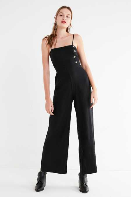 UO Straight-Neck Linen Button-Down Jumpsuit