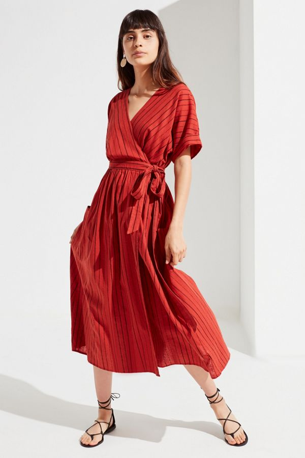 Uo Gabrielle Linen Midi Wrap Dress Urban Outfitters