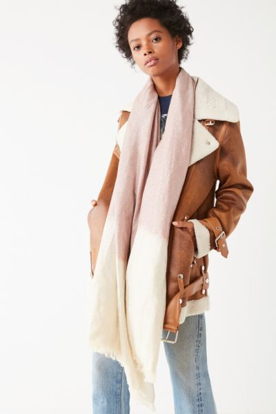 Ombre Sparkle Blanket Scarf - Ivory One Size at Urban Outfitters