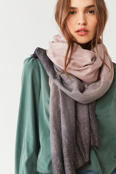 Ombre Sparkle Blanket Scarf - Tan One Size at Urban Outfitters
