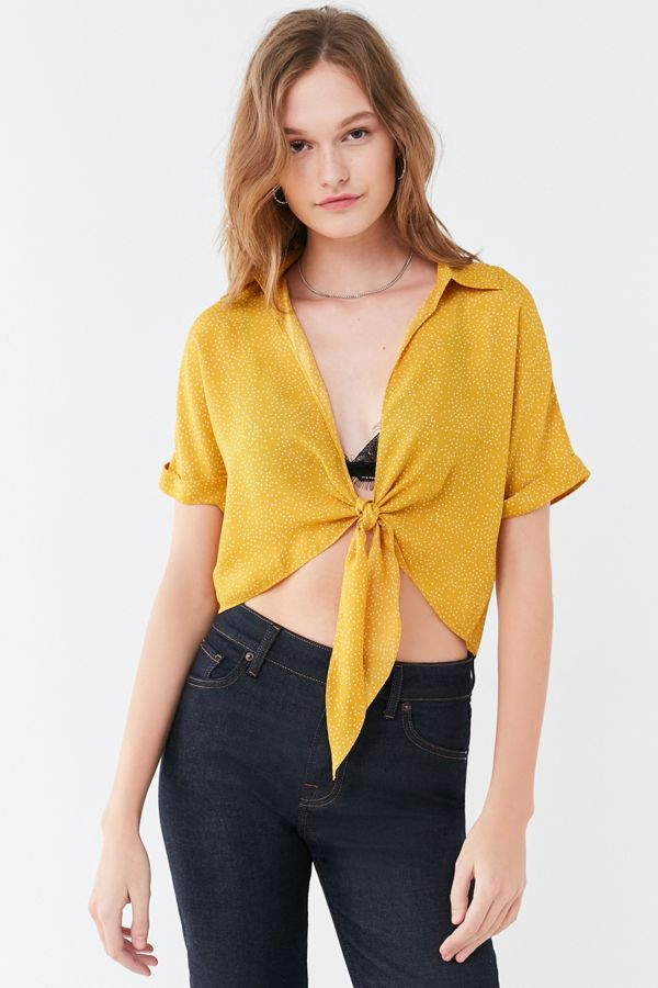 Uo polka dot tie front top urban outfitters slide view 2 uo polka dot tie front top ccuart Gallery