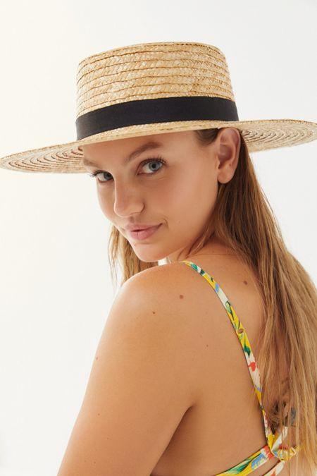 Straw Ribbon-Trim Boater Hat de734e673c1