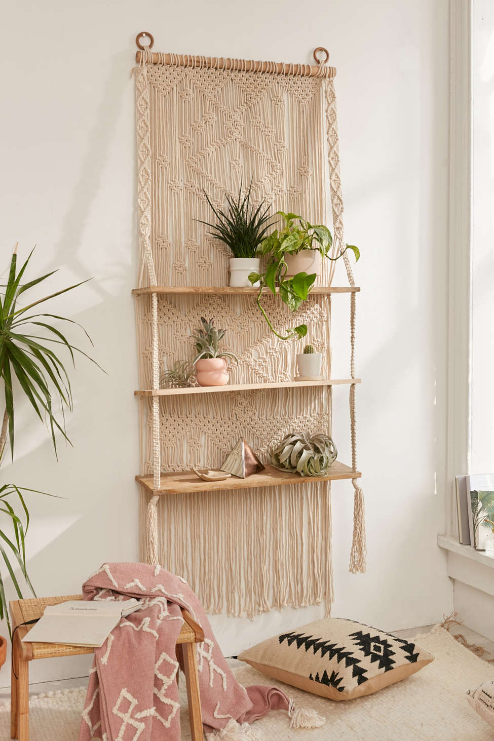 Slide View: 1: Macramé Hanging Shelf