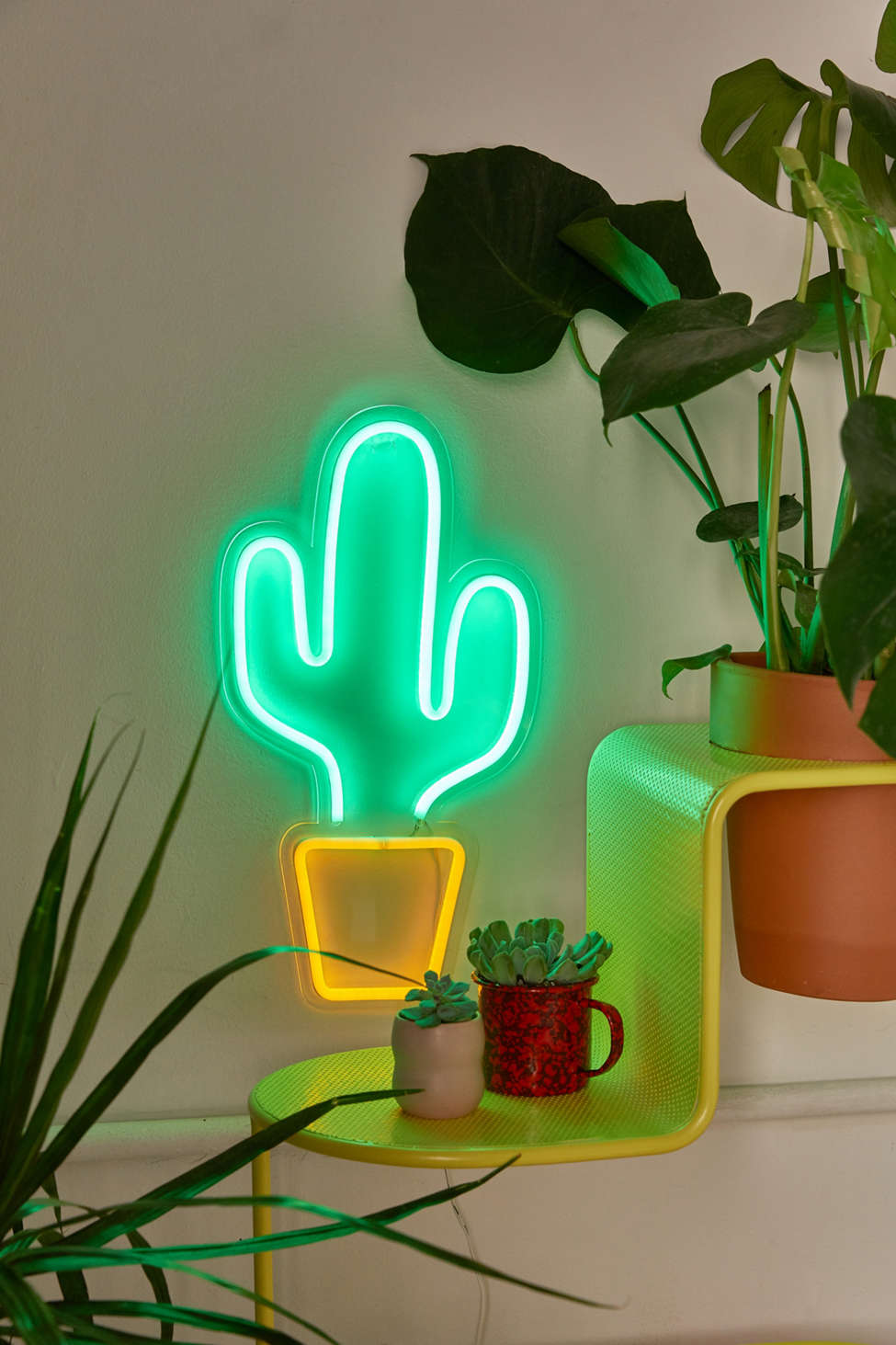 Slide View: 1: Potted Cactus Neon Sign