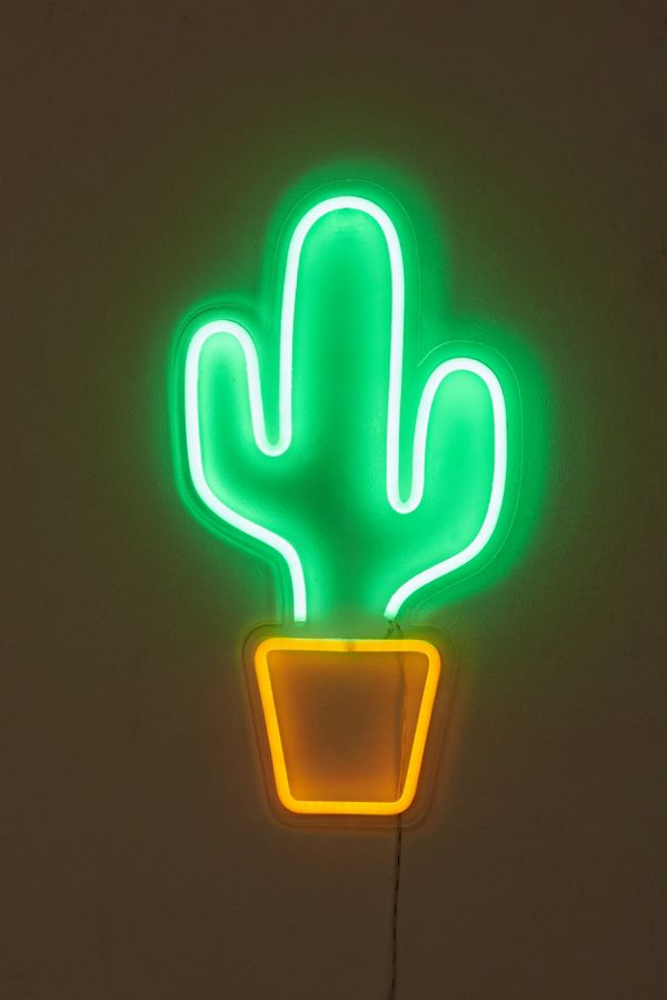 Slide View 2 Potted Cactus Neon Sign