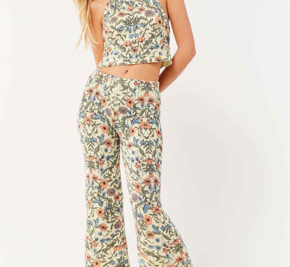 Slide View: 1: UO Floral Sweater Flare Pant