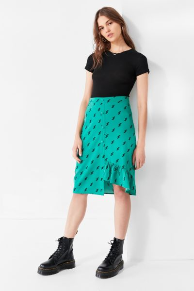 EVIDNT Uneven Ruffle Hem Skirt - Green Multi XS at Urban Outfitters
