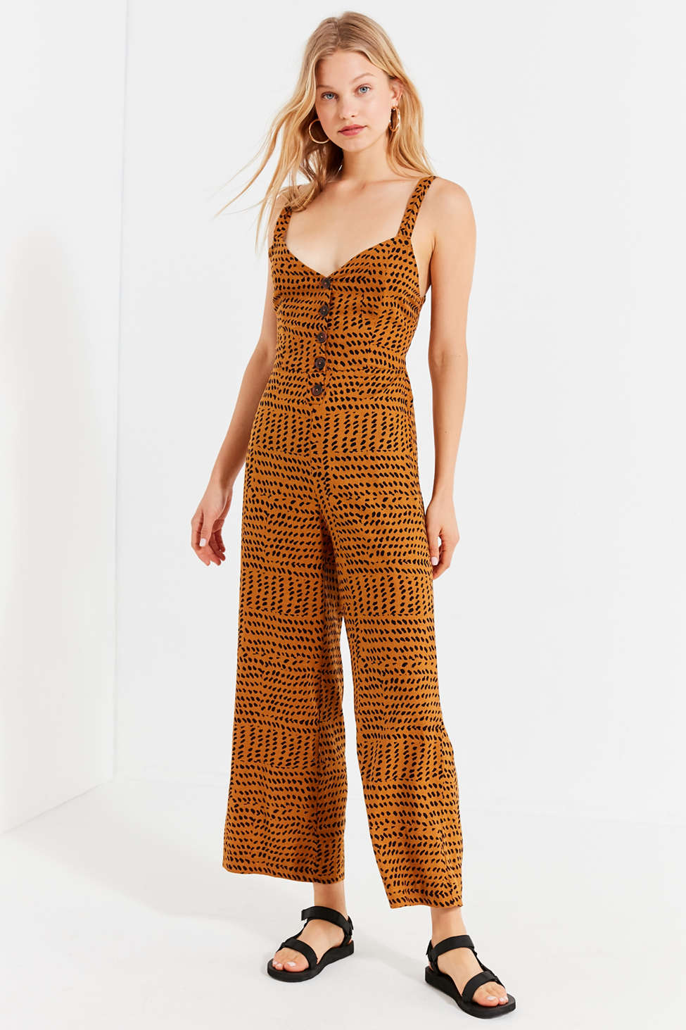 Uo Ashley Button Down Tie Back Jumpsuit Urban Outfitters