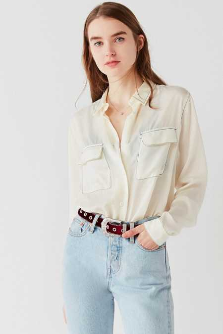 UO Contrast Stitch Button-Down Top