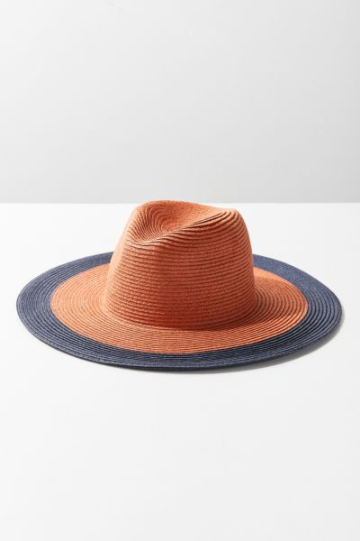 Colorblocked Straw Rancher Hat - Rust One Size at Urban Outfitters