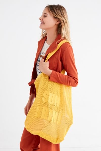Mesh Tote Bag - Yellow One Size at Urban Outfitters
