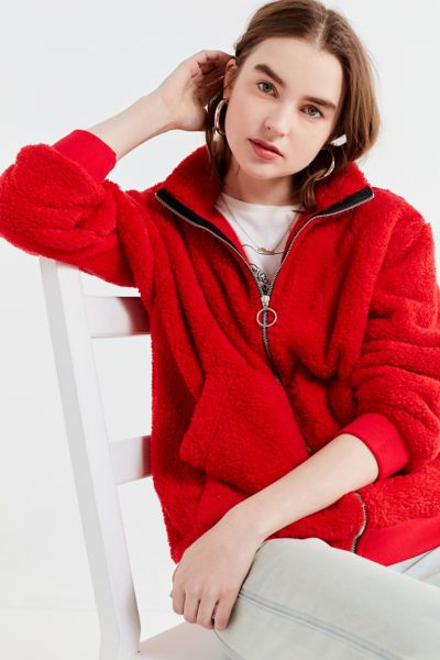 UO Charmane Red Fleece Zip-Front Jacket - Red XS at Urban Outfitters