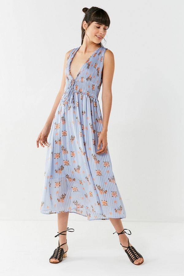 Slide View: 1: ASTR The Label Miranda Pleated Floral Midi Dress