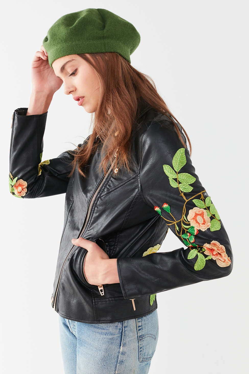 Blanknyc Floral Embroidered Moto Jacket Urban Outfitters
