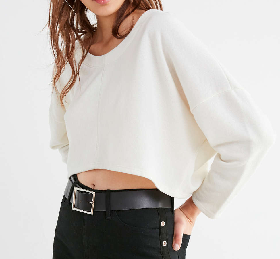 Slide View: 4: Truly Madly Deeply Roxy Cropped Pullover Tee